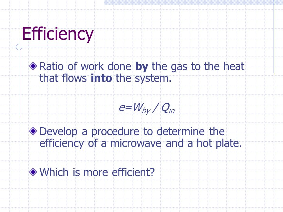 Efficiency Ratio of work done by the gas to the heat that flows into the system. e=Wby / Qin.