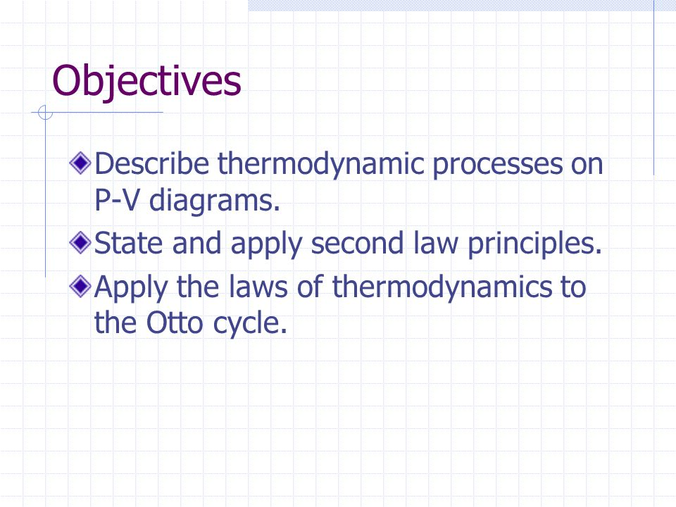 Objectives Describe thermodynamic processes on P-V diagrams.