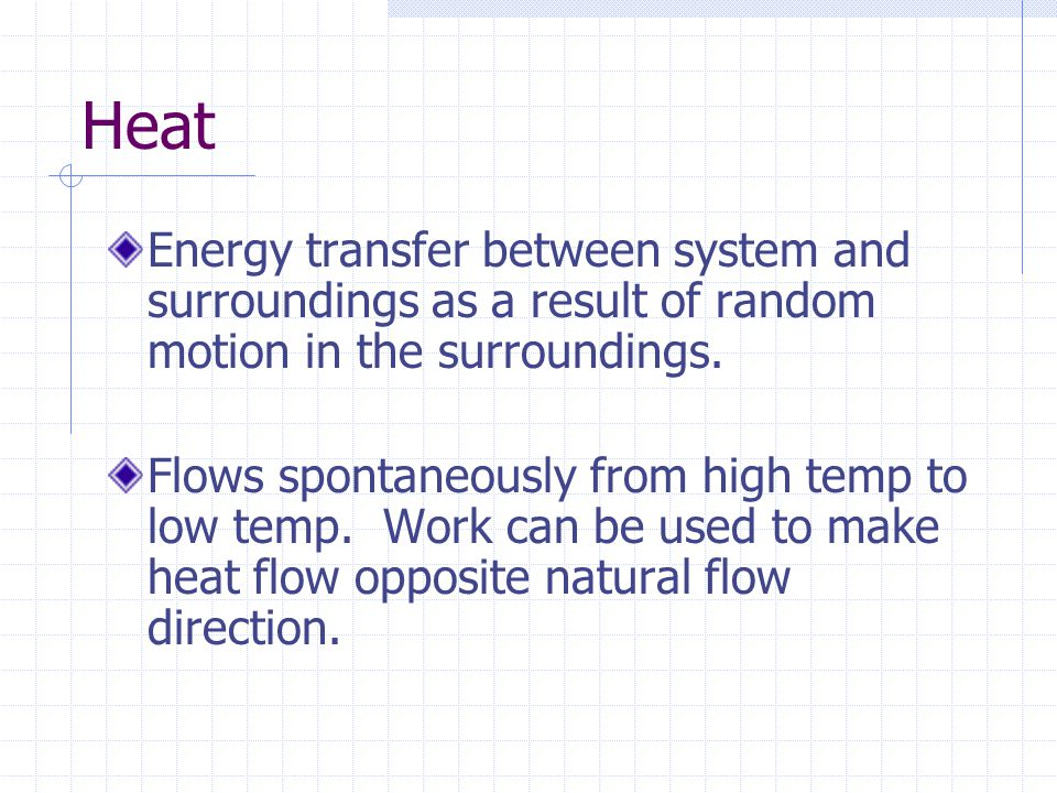 Heat Energy transfer between system and surroundings as a result of random motion in the surroundings.