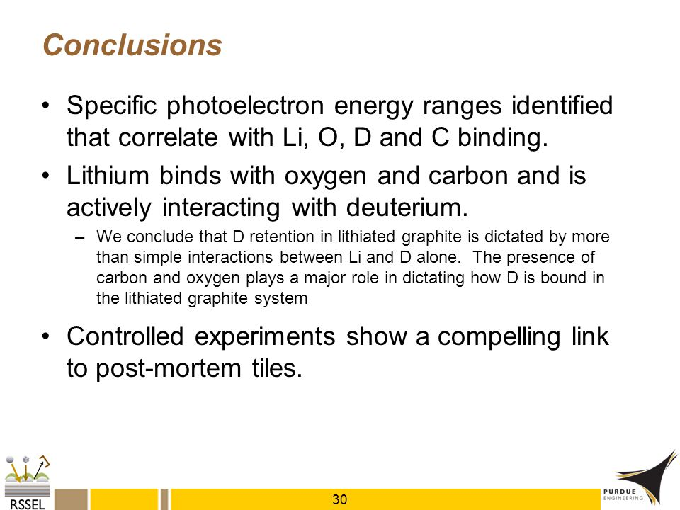 Conclusions Specific photoelectron energy ranges identified that correlate with Li, O, D and C binding.