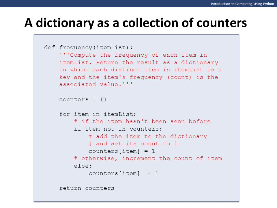 A dictionary as a collection of counters