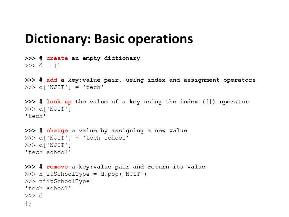 Dictionary: Basic operations