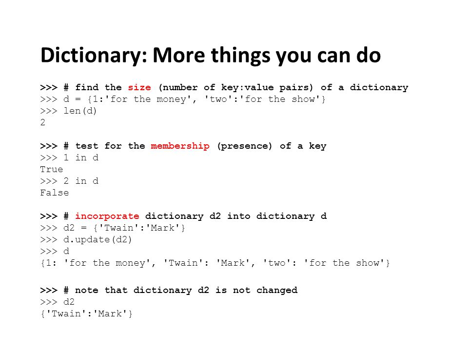 Dictionary: More things you can do