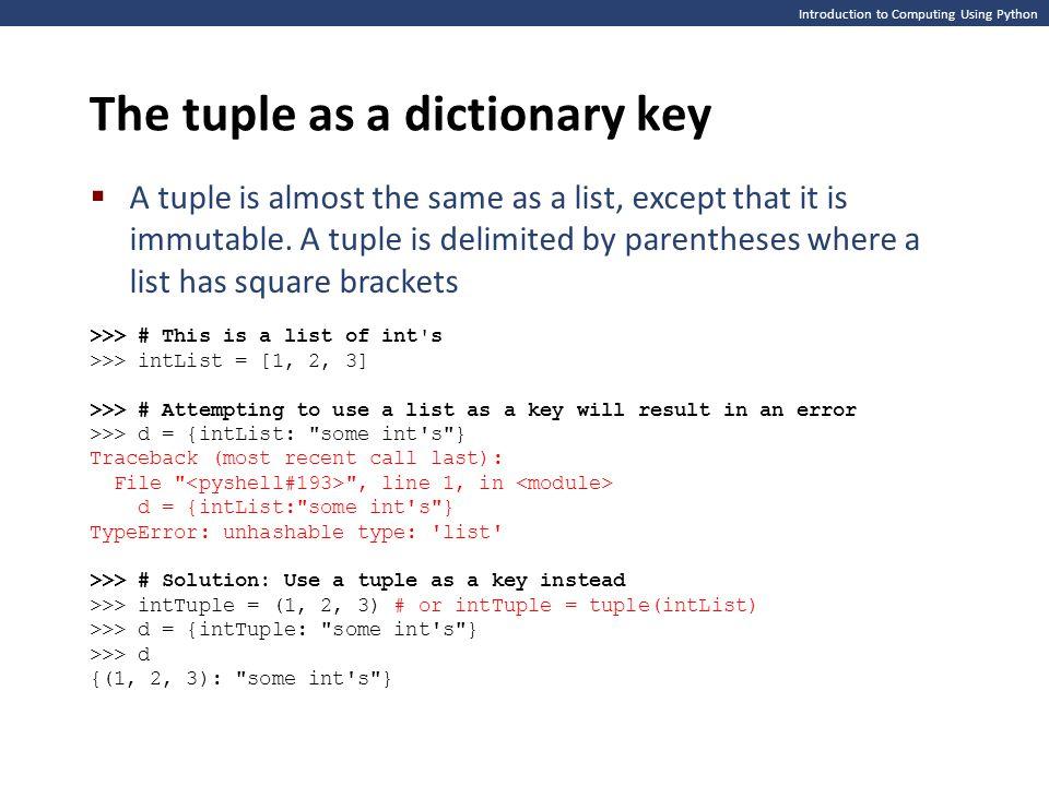 The tuple as a dictionary key