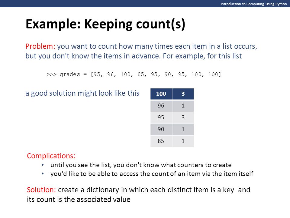 Example: Keeping count(s)