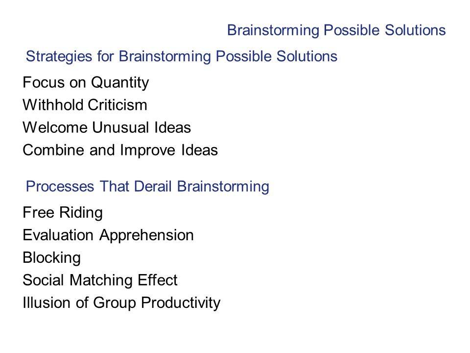 Strategies for Brainstorming Possible Solutions