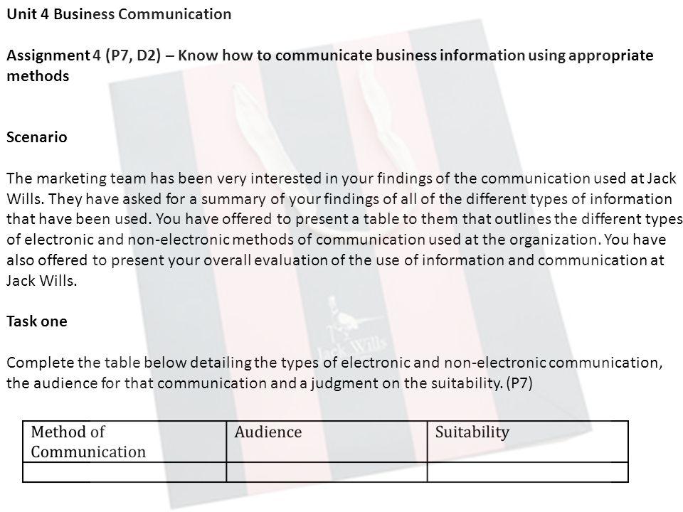 unit 4 business communication p2 Unit 4 business communications btec national diploma level 3 business unit  4-  p2 present complex internal business information using three different.