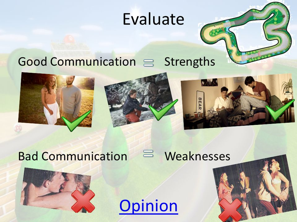 = = Evaluate Opinion Good Communication Bad Communication Strengths