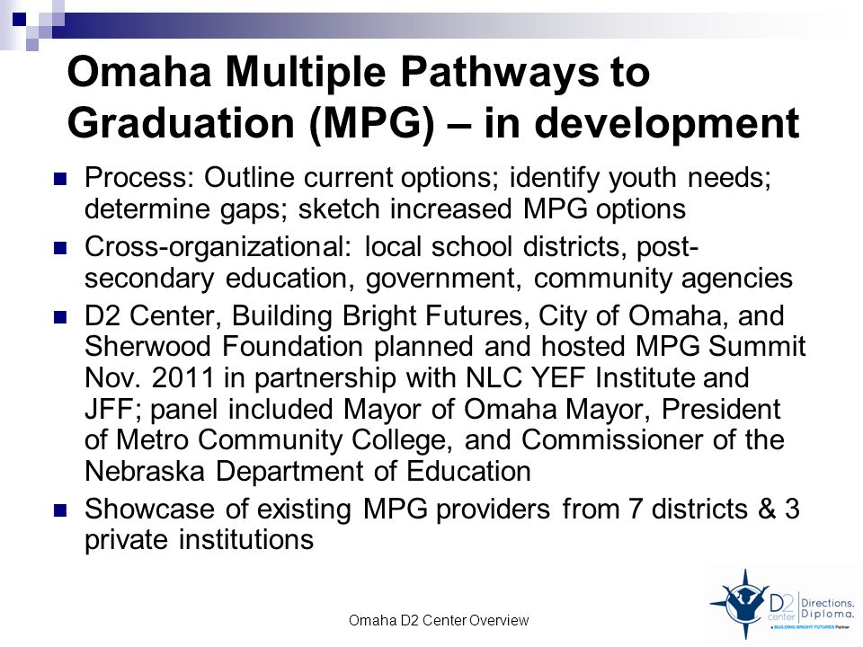 Omaha Multiple Pathways to Graduation (MPG) – in development