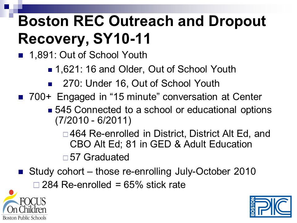 Boston REC Outreach and Dropout Recovery, SY10-11