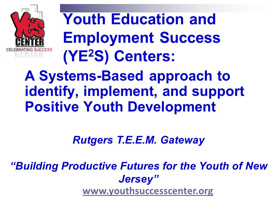 Youth Education and Employment Success (YE2S) Centers: