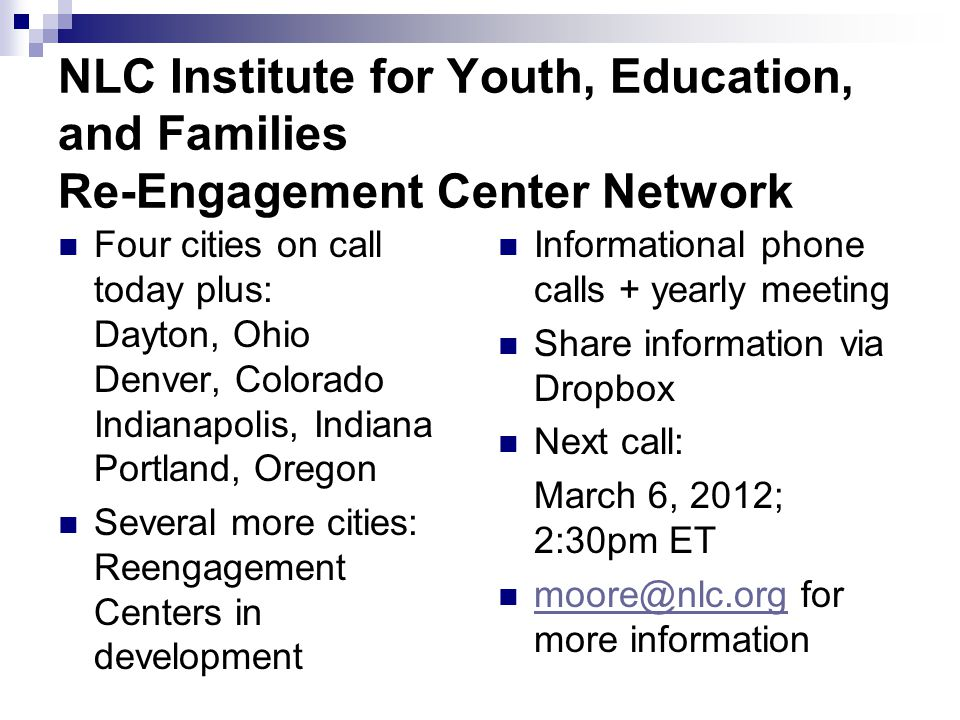 NLC Institute for Youth, Education, and Families Re-Engagement Center Network