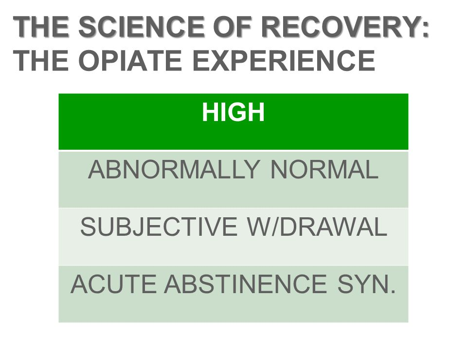 THE SCIENCE OF RECOVERY: THE OPIATE EXPERIENCE