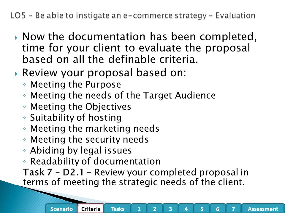 LO5 - Be able to instigate an e-commerce strategy - Evaluation