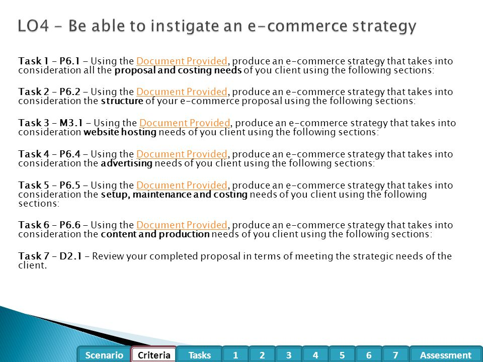 LO4 - Be able to instigate an e-commerce strategy