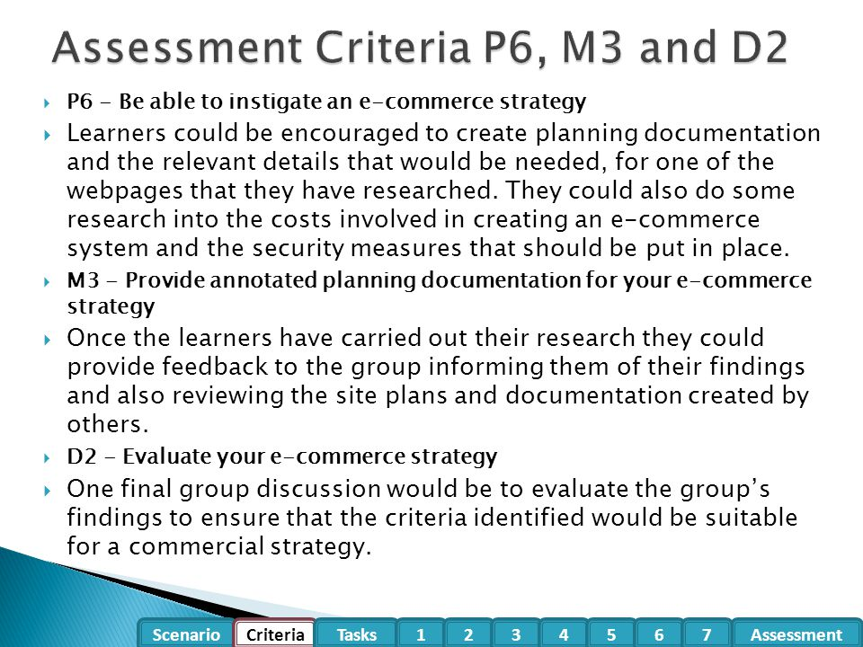 Assessment Criteria P6, M3 and D2