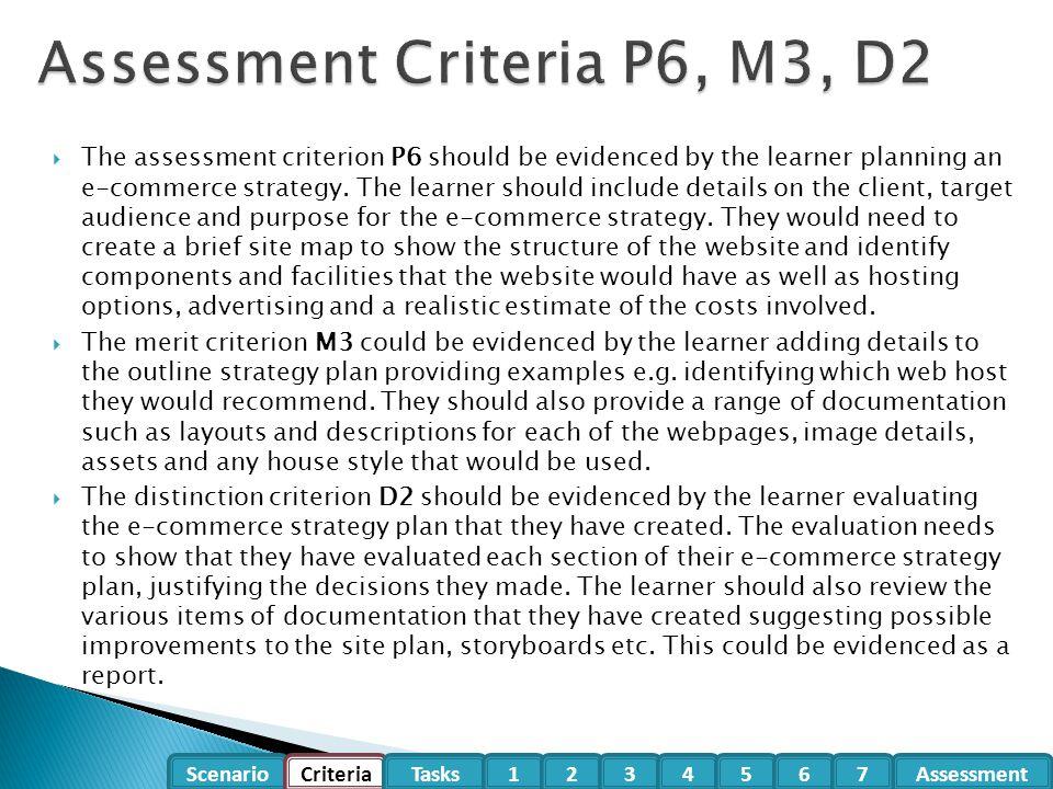 Assessment Criteria P6, M3, D2