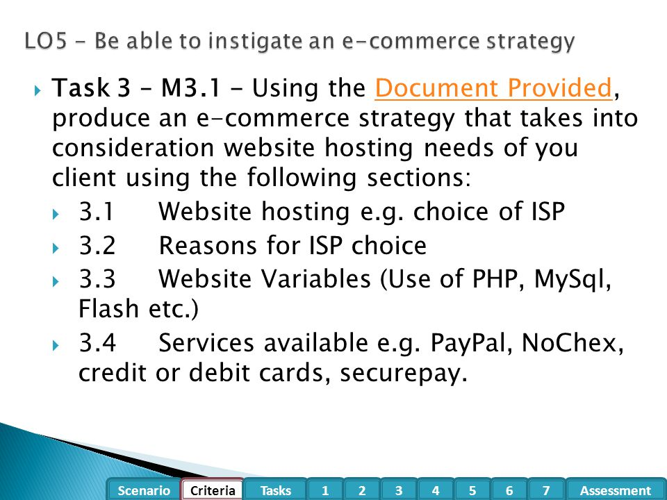 LO5 - Be able to instigate an e-commerce strategy