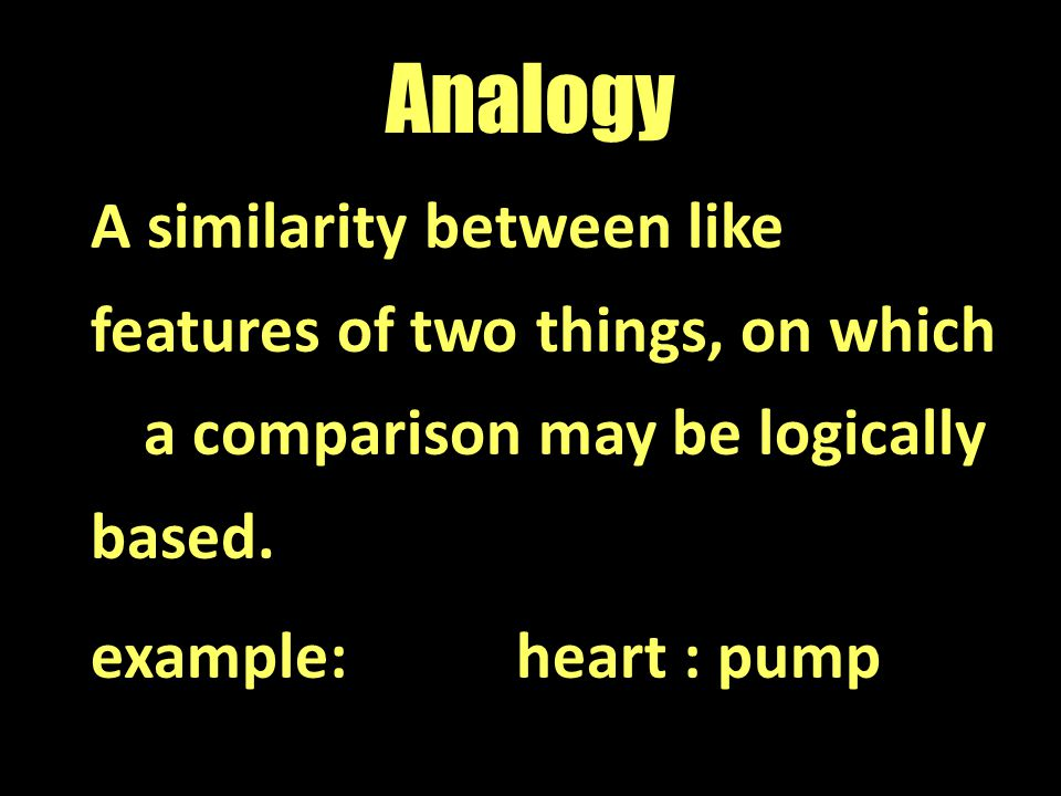 Analogy A similarity between like features of two things, on which a comparison may be logically based.