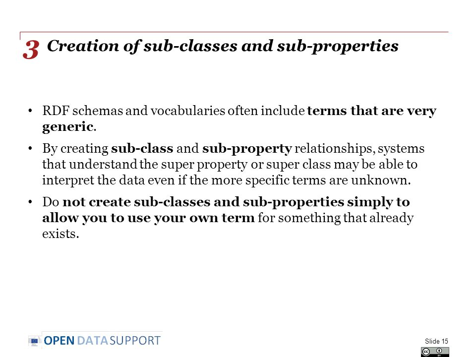 Creation of sub-classes and sub-properties