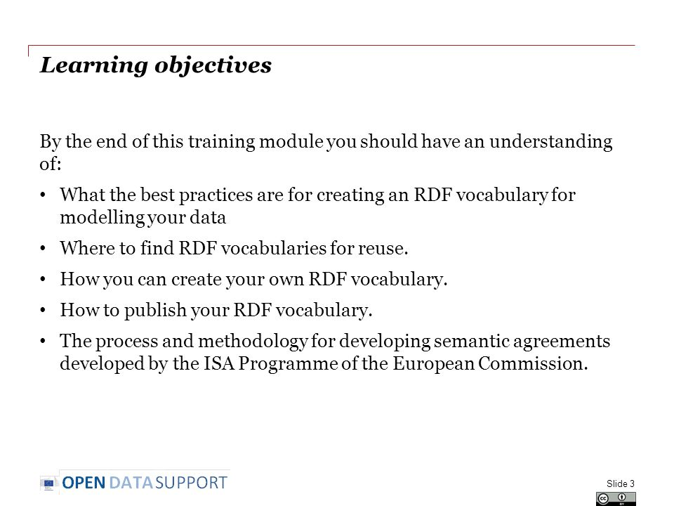 Learning objectives By the end of this training module you should have an understanding of: