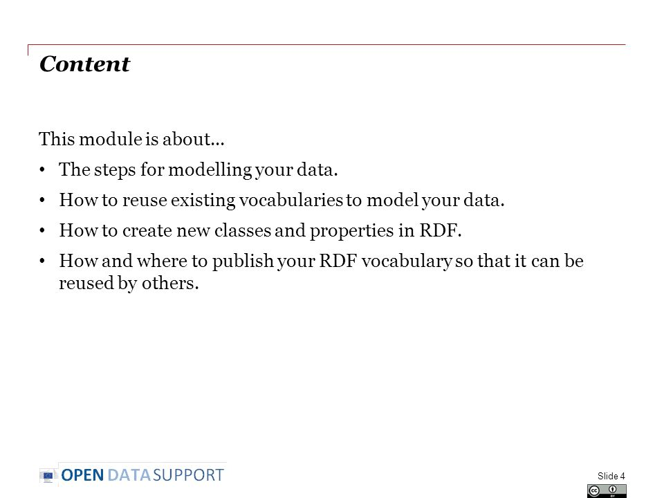 Content This module is about... The steps for modelling your data.