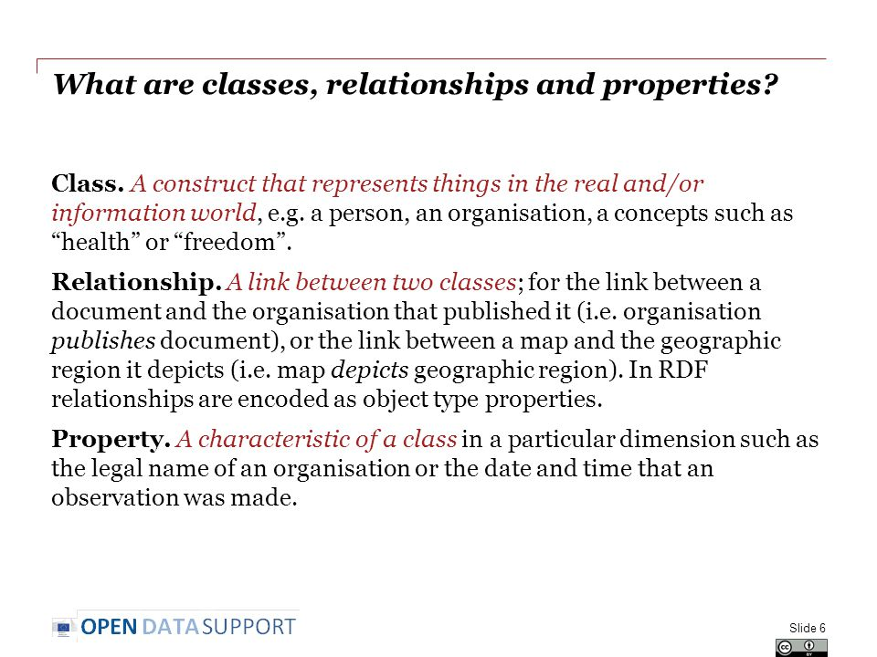 What are classes, relationships and properties