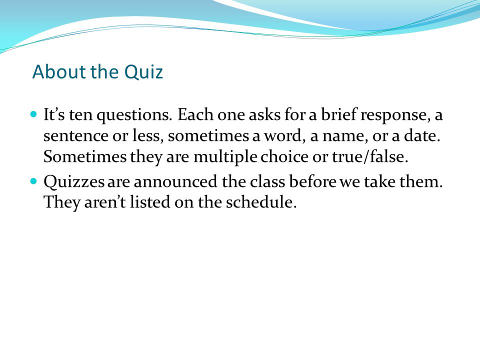 About the Quiz
