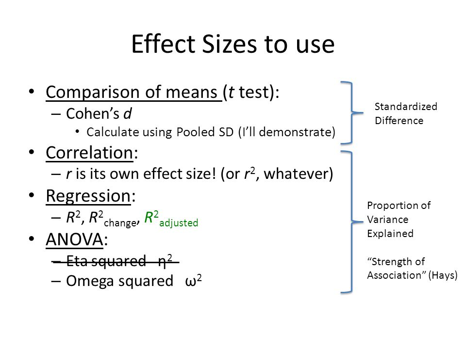Effect Sizes to use Comparison of means (t test): Correlation: