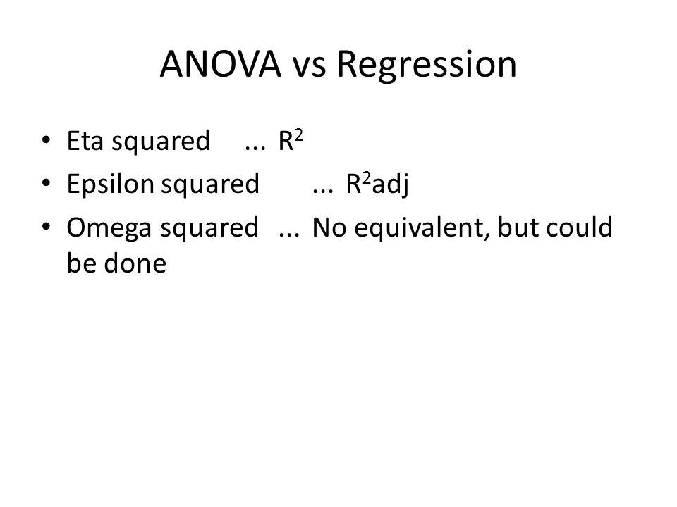 ANOVA vs Regression Eta squared ... R2 Epsilon squared ... R2adj