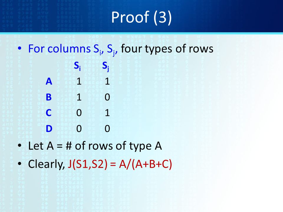Proof (3) For columns Si, Sj, four types of rows