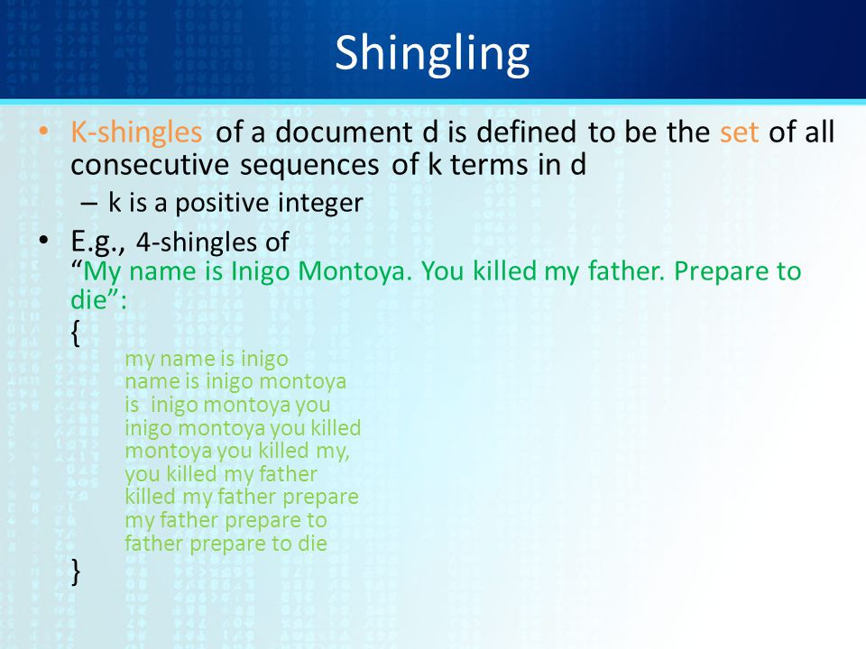 Shingling K-shingles of a document d is defined to be the set of all consecutive sequences of k terms in d.