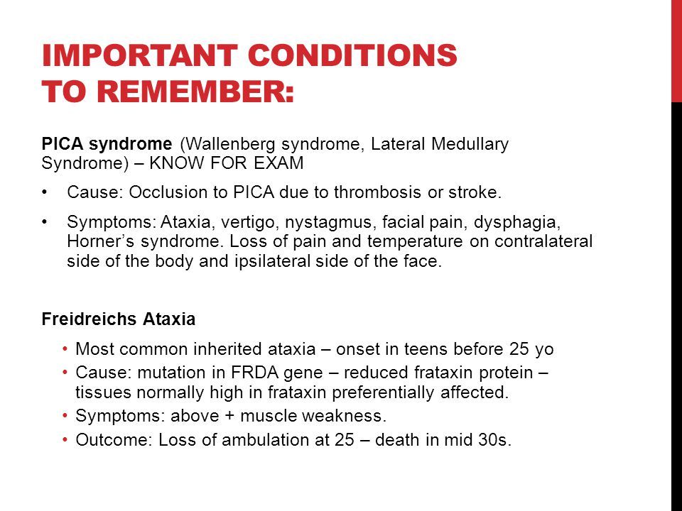 Important conditions to remember: