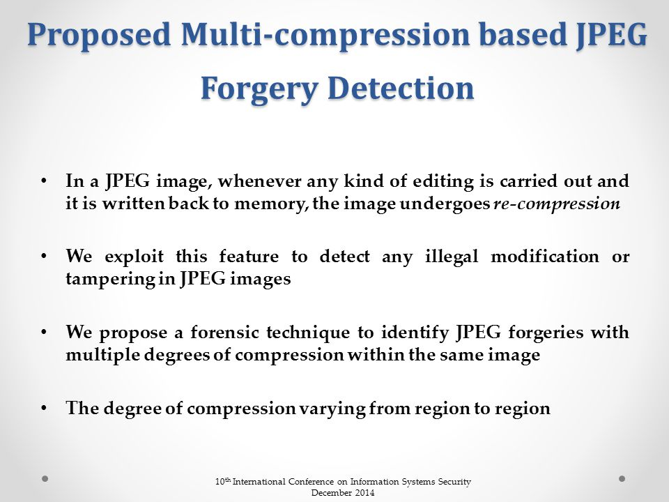 Proposed Multi-compression based JPEG Forgery Detection
