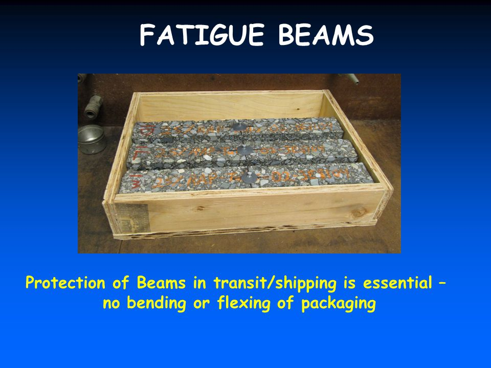 FATIGUE BEAMS Protection of Beams in transit/shipping is essential –