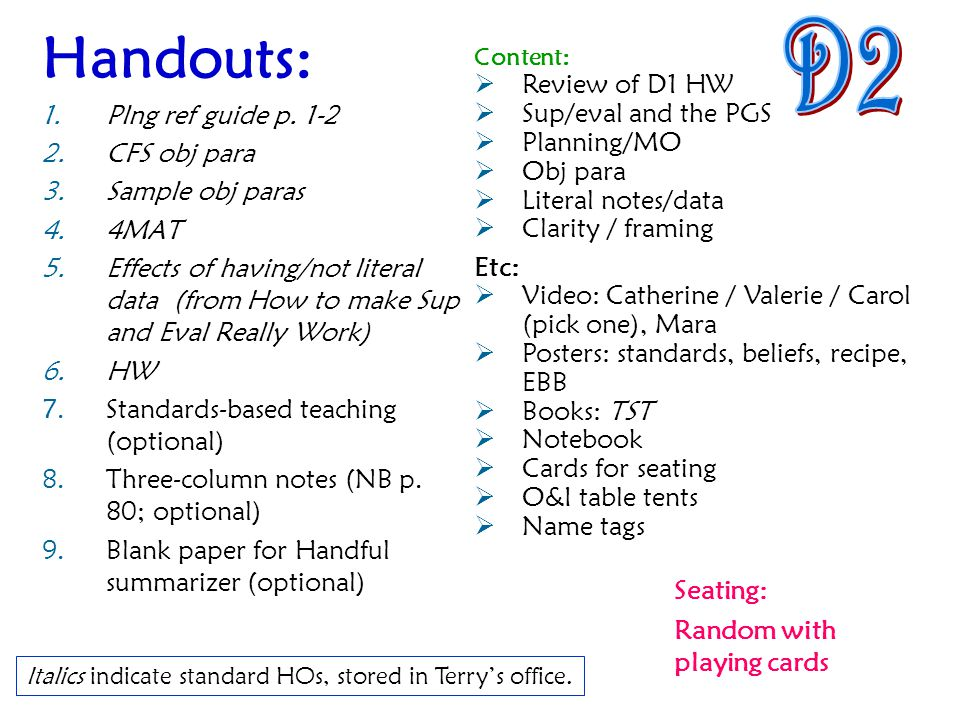 Handouts: D2 Plng ref guide p. 1-2 Review of D1 HW CFS obj para