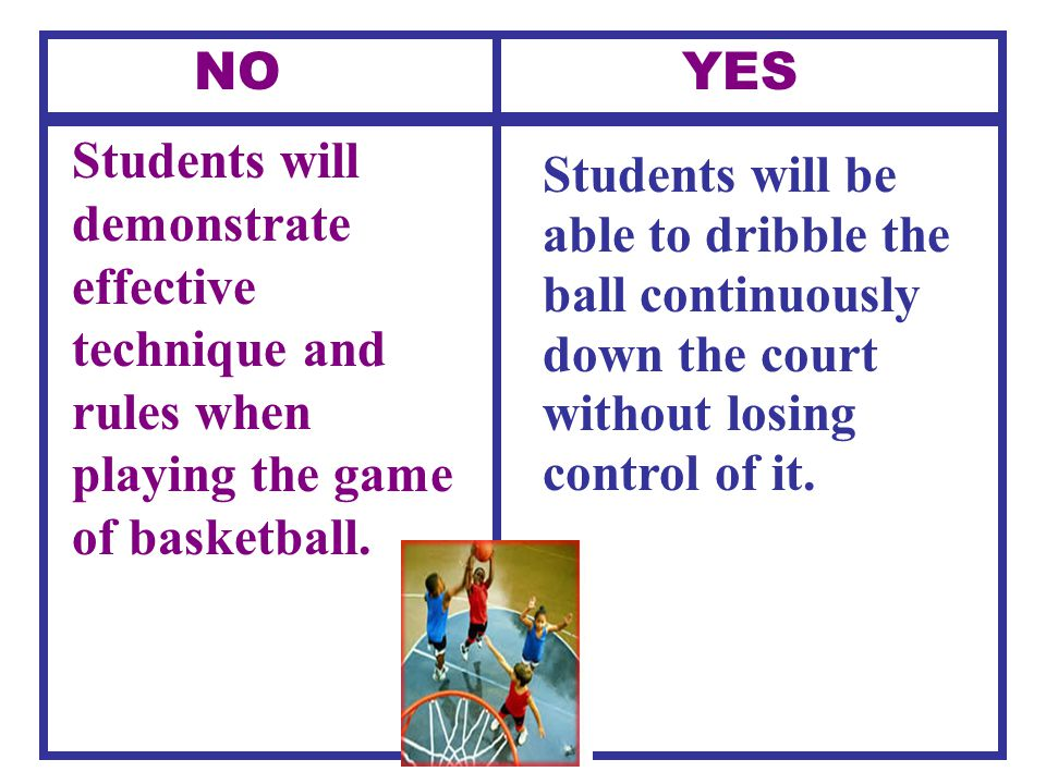 NO YES Students will demonstrate effective technique and rules when playing the game of basketball.