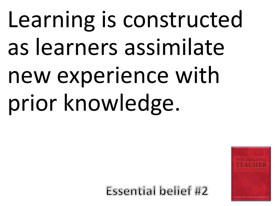 Learning is constructed as learners assimilate new experience with prior knowledge.