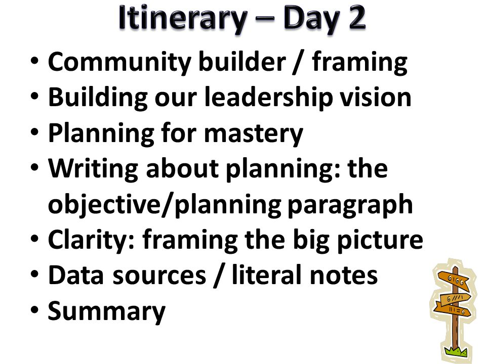 Itinerary – Day 2 Community builder / framing