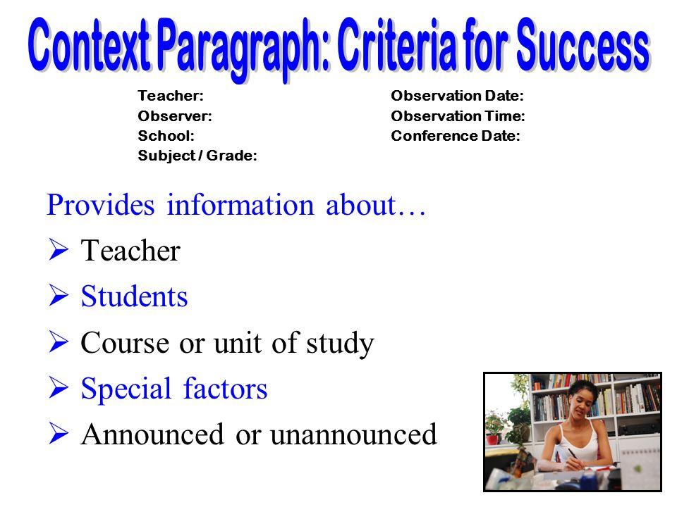 Context Paragraph: Criteria for Success
