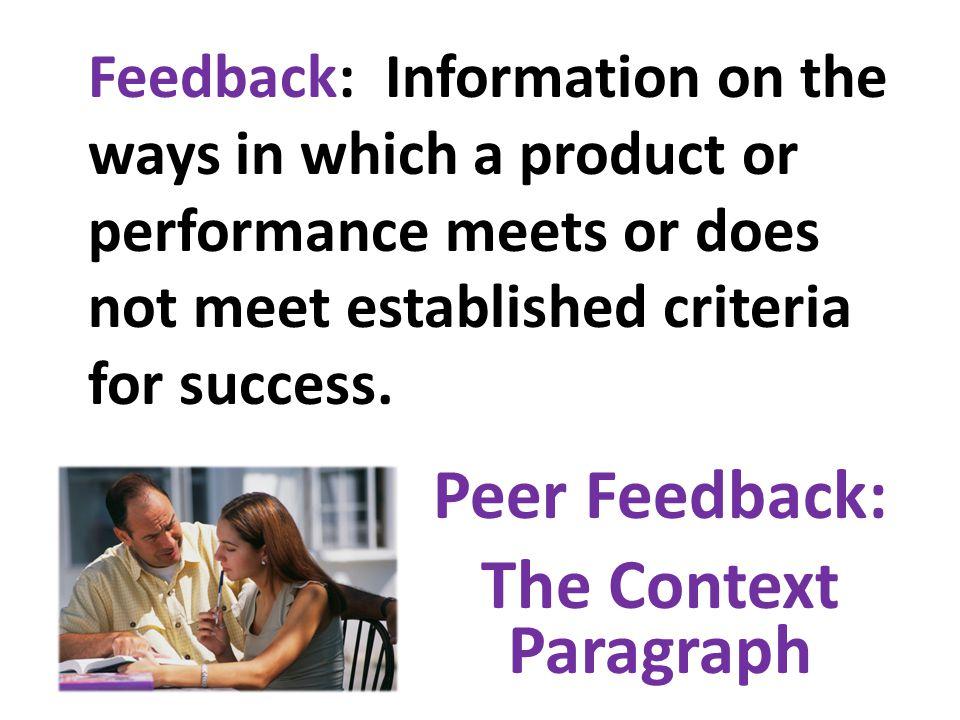 Peer Feedback: The Context Paragraph