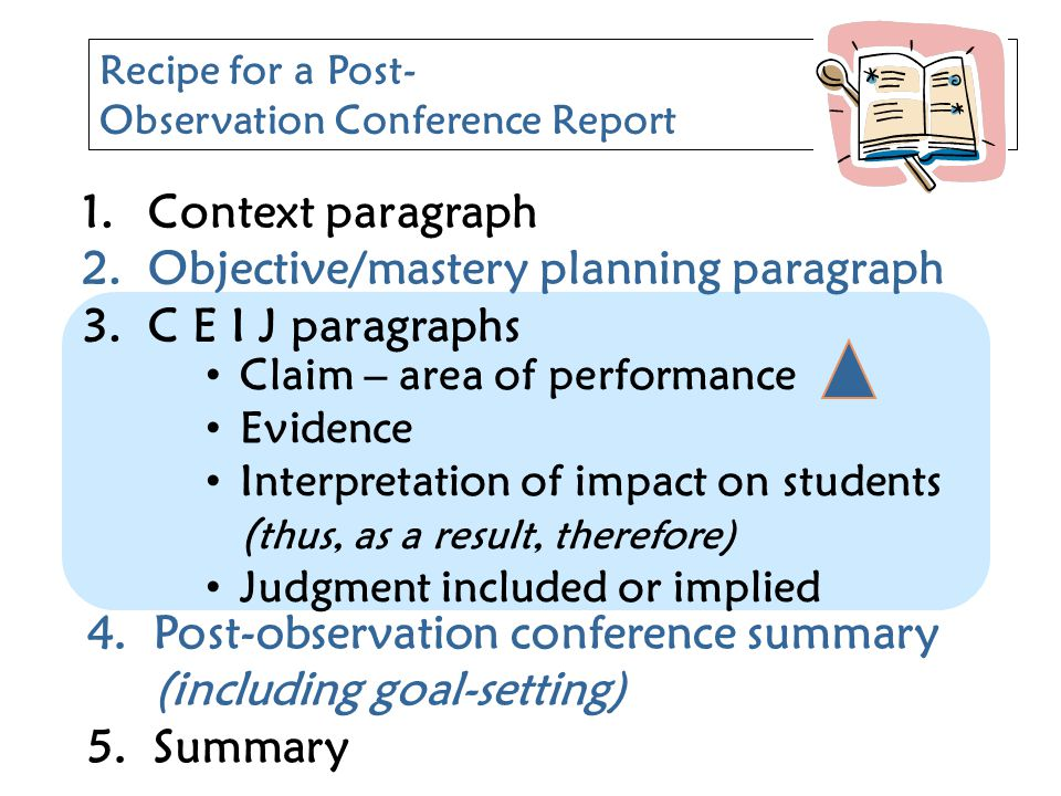 Objective/mastery planning paragraph C E I J paragraphs