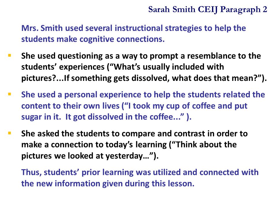 Sarah Smith CEIJ Paragraph 2
