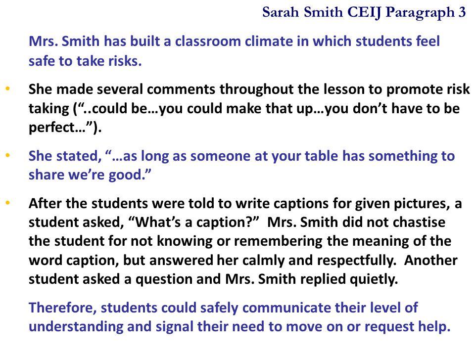 Sarah Smith CEIJ Paragraph 3