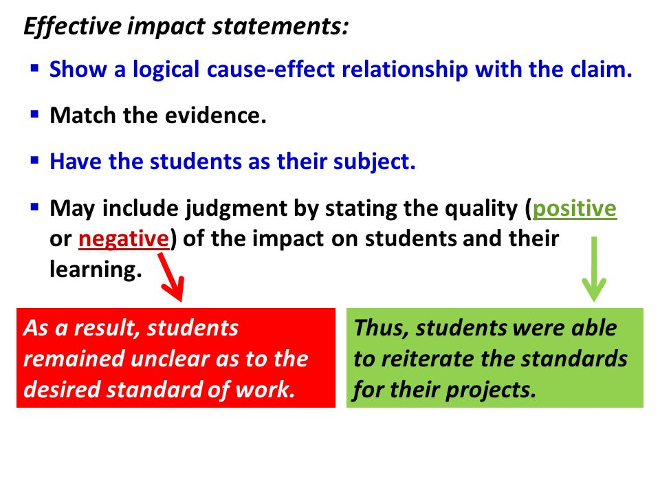 Effective impact statements: