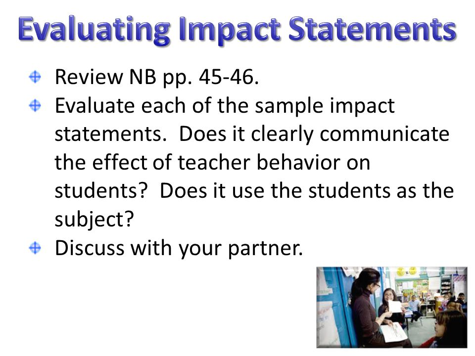 Evaluating Impact Statements