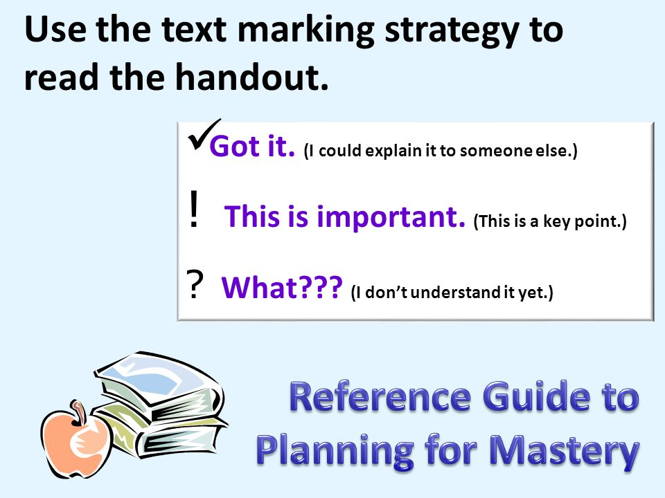 Reference Guide to Planning for Mastery