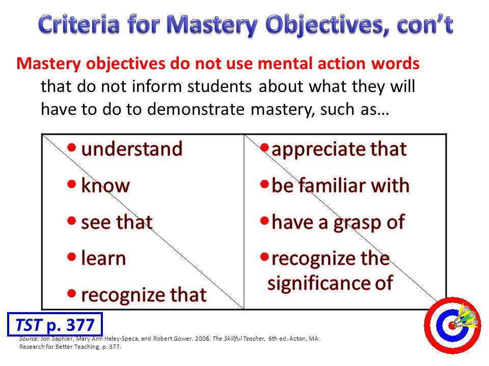 Criteria for Mastery Objectives, con't