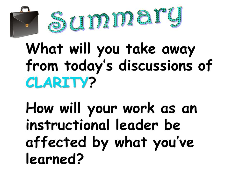 What will you take away from today's discussions of CLARITY