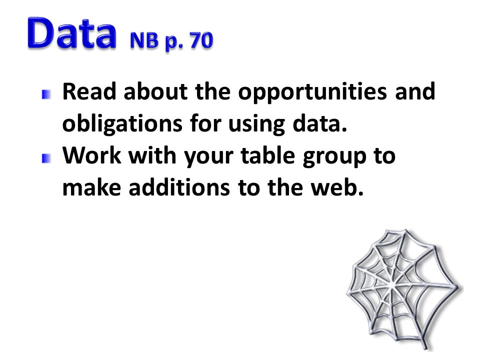 Data NB p. 70 Read about the opportunities and obligations for using data.